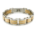 Two Tone Men's Stainless Steel Bracelet With Stud Accents