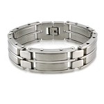 Men's Stainless Steel Bracelet With Mixed Finishes and Studs