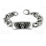 Men's Stainless Steel Chain Bracelet With Winged Skull Centerpiece