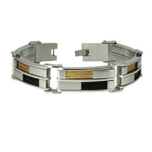 Men's Bracelet in Stainless Steel With Black and Gold Tone Cables