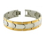 Men's Bracelet in Stainless Steel With Gold Tone Step Down Edges