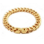 Men's Stainless Steel Link Bracelet With Gold Tone PVD Coating