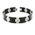 Men's Two Tone Bracelet With Alternating Black and CZ Cross Links