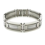 Titanium Bracelet For Men With Polished Mesh Inlay Links