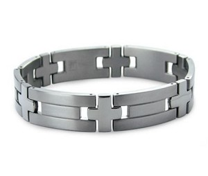 Titanium Bracelet For Men With Satin Finish and Cross Links