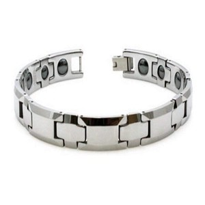 Polished Tungsten Bracelet For Men With Cross Links and Magnets