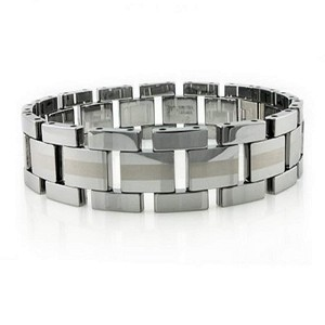 Tungsten Bracelet With Polished Finish and Matte Center Strip