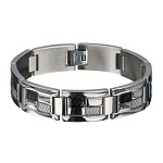 Men's Stainless Steel Bracelet, Black and White Carbon Fiber Links