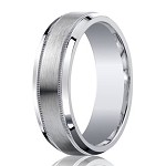 Designer Argentium Silver Decorative Edge Wedding Ring with Satin Finish and Polished Beveled Edges | 7mm - JBS1010