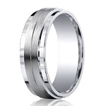 Designer Argentium Silver Double Satin Wedding Ring with Step-Down Polished Edges | 9mm - JBS1011