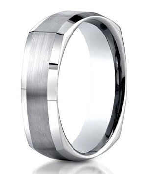 Designer Argentium Silver Squared Wedding Ring with Satin Finish and Polished Beveled Edge | 7mm - JBS1014