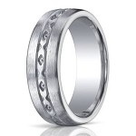 "Designer Brushed Argentium Silver Wedding Ring with ""X"" Pattern Design 