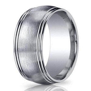 Designer Argentium Silver Men's Ring With Double Row Edges | 10mm