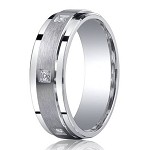 Satin Finished Silver Wedding Band with Polished Edges and 6 Round Diamonds | 7mm - JBSD1002