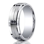 Benchmark Argentium Silver Wedding Ring With Black Diamonds | 9mm