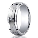 Benchmark Argentium Silver Ring With Black & White Diamonds | 9mm