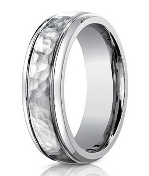 Men's Benchmark Titanium Wedding Ring with Hammered Finish | 7mm - JBT1003