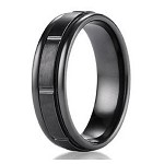 Men's Benchmark Black Titanium Wedding Band with Grooved Design | 7mm - JBT1007