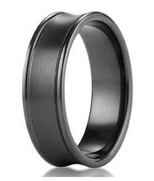 Men's Benchmark Black Titanium Wedding Ring with Concave Design | 7.5mm - JBT1008