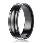 Men's Benchmark Black Titanium Wedding Ring with Rounded Edge Design | 7.5mm - JBT1009