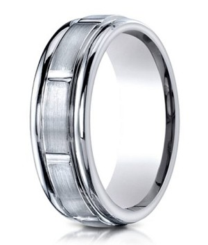 Men's Benchmark Titanium Wedding Ring with Polished Grooves | 6mm - JBT1010