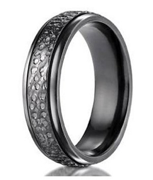 Men's Benchmark Black Titanium Hammered Wedding Ring | 7mm - JBT1015