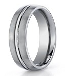 Benchmark Titanium Satin Finish Wedding Ring With Trim | 6mm