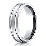 Benchmark Satin Finish Groove Titanium Wedding Ring | 6mm