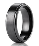 Black Titanium Benchmark Men's Wedding Ring with Stair Step Edges | 9mm
