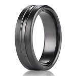 Benchmark Black Titanium Men's Wedding Ring with Center Cut | 7.5mm