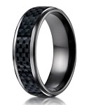 Benchmark Black Titanium Wedding Ring with Carbon Fiber Inlay | 8mm
