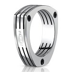 Benchmark Forge Triangular Titanium Fashion Ring With Lines | 7.5mm