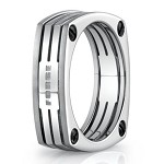 Benchmark Forge Four Sided Titanium Fashion Ring With Lines | 7.5mm