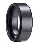 Men's Ceramic Wedding Band with Flat Profile, Beveled Edges and a Polished Finish | 7mm - JC0050