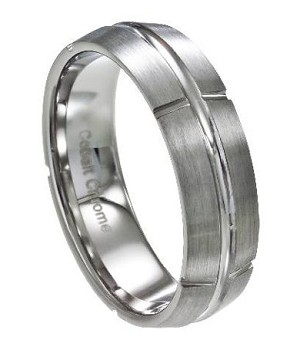 Men's Cobalt Chrome Ring with Satin Finish and Polished Center Groove | 7mm - JCB0102