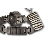 Men's Stainless Steel Multi-Hole Gunmetal Finished with CZ's Gift Set
