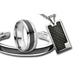 Men's Polished Black Carbon Fiber Inlay Gift Set