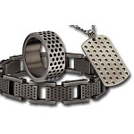 Men's Stainless Steel Multi-Hole Gunmetal Finished Gift Set
