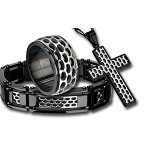 Men's Stainless Steel Car Grille Black IP Polish Finished Ring Gift Set