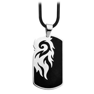 Tribal Black Plated Stainless Steel Dog Tag Pendant for Men - JN1007
