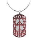 Decorative Stainless Steel Cross Dog Tag for Men - JN1010