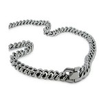 Men's Stainless Steel Necklace With High Polished Curb Chain