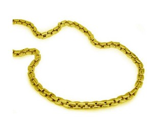 Stainless Steel Men's Necklace With Polished Gold Tone Links