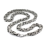Men's Stainless Steel Necklace With Polished Intricate Chain