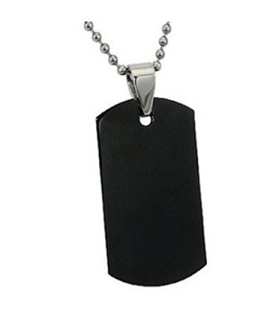 Men's Black Stainless Steel Dog Tag Pendant With Bead Chain