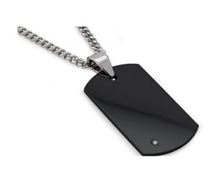 Men's Black Tungsten Carbide Dog Tag Pendant With Single Diamond