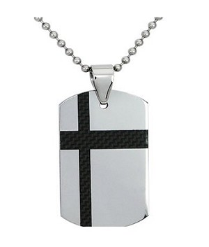 Men's Tungsten Dog Tag Pendant With Black Carbon Fiber Inlay