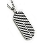 Stainless Steel Men's Pendant With Black Enamel Stripes and CZ