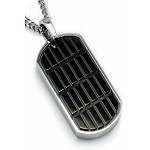 Men's Pendant in Stainless Steel With Geometric Black Onyx Inlay
