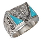 Men's Silver Eagle with Double Triangle Turquoise & Squared Shank - JP0272